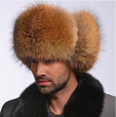 Whole skin fox fur hat cap men's mink fur hat Lei Feng casual leather men caps winter hat(China (Mainland))