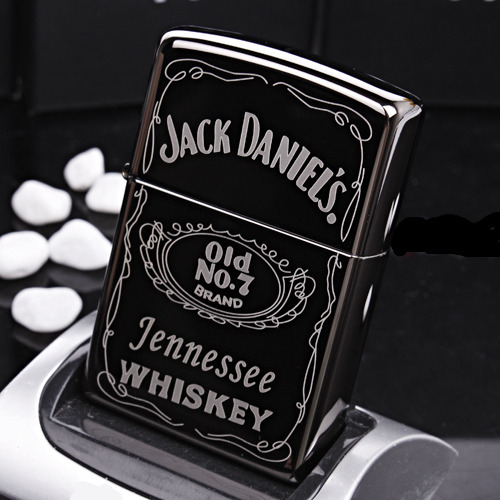 Classic black mirror Vintage Style Whisky wine JACK DANEL Cigarette Lighter oil Metal smooth grinding wheel gift for man(China (Mainland))