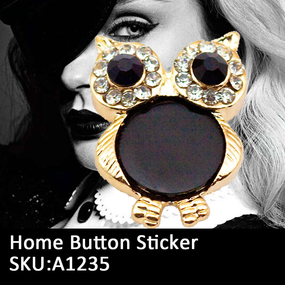 New 2015 Kawaii Owl Cabochons Decoden Home Button Sticker For iPhone 4 4s 5 5s 5C iPod iPad(China (Mainland))