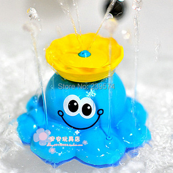 Free Shipping Gift baby bath toys rotary automatic sprinkler blue octopus swimming toys sassy (NO-009)(China (Mainland))