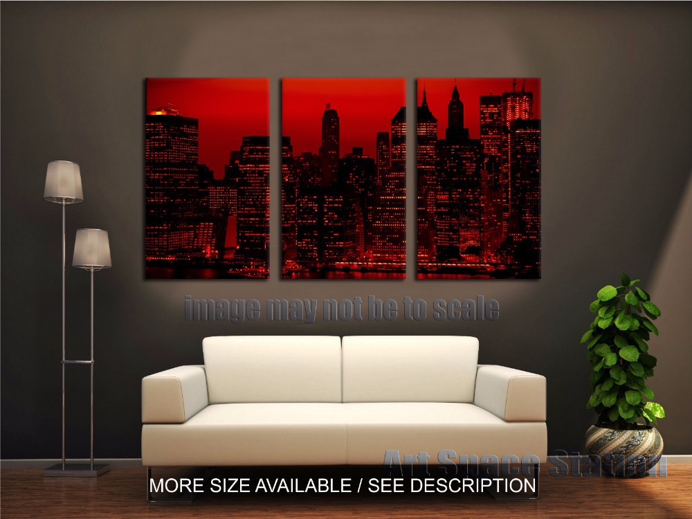 red sky at night new york city poster print 3 piece large. Black Bedroom Furniture Sets. Home Design Ideas