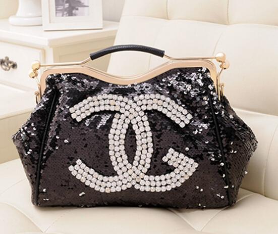 2015 fashion diamond rhinestone bag fashion womens handbag black paillette sequin bag clip chain portable<br><br>Aliexpress