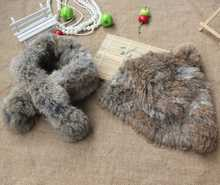 H298-Winter warm hat,natural rabbit fur scarf, piece set (China (Mainland))