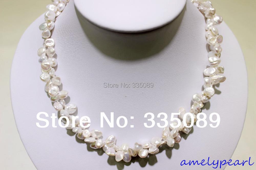 2 strands white Beautiful keshi reborn pearl necklace 18INCH 7x9mm(China (Mainland))