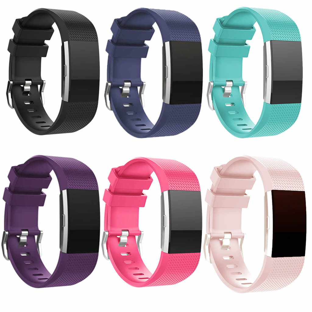 Silicone Replacement Wristband Sports Safety Wrist Support Band Strap for FitBit Charge 2 Wrist Bracelet Metal Buckle Accessory