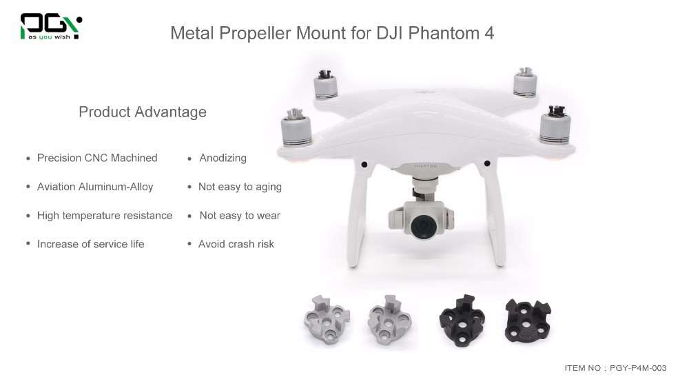 PGY DJI phantom 4 Metal Propeller Bracket Mount for Phantom4 Silve black Holder Adapter motor connector drone parts accessories