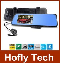 6000C зеркало заднего вида камера рекордер видеорегистратор с двумя объективами Full HD 1080 P 4.3 » TFT LCD с g-датчика обнаружения движения ночного видения