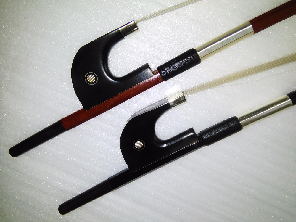 2 PCs German Style Double bass bow 3/4 including 1 PC Octagonal Brazil Wood double bass bow and 1 PC Black Carbon Bass bow<br><br>Aliexpress