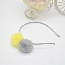 Headpieces Sweet girls hairband bonito orelhas de coelho de pelúcia bola de cabelo grande cabeça de argola acessórios para o cabelo Tiara para crianças. 1 pcs(China)