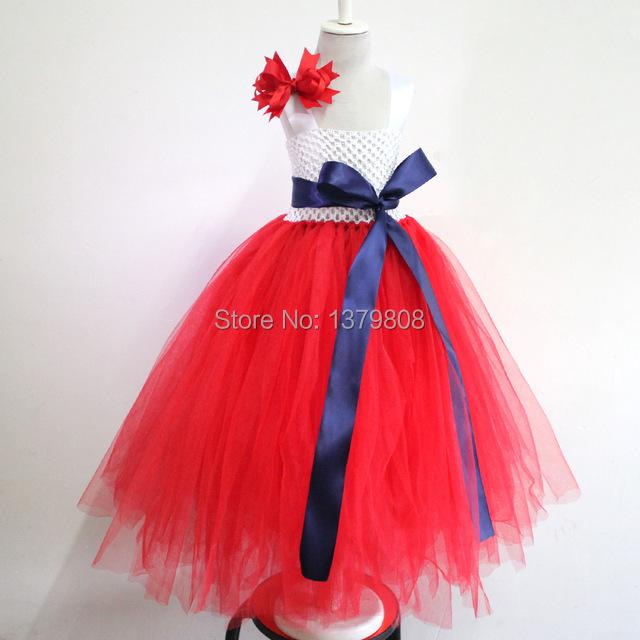 Improved lining Handmade children birthday tutu dress white crochet red tulle prom dress toddler bride dress add sash & flower(China (Mainland))