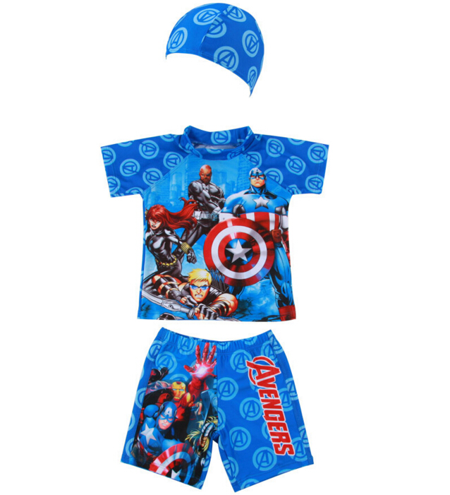 Kids Swimwear Baby Boys Swimsuit Top+Short Pant+Hat 3 Pcs Bathing Suit with Swimming Cap For 1~7 Years(China (Mainland))