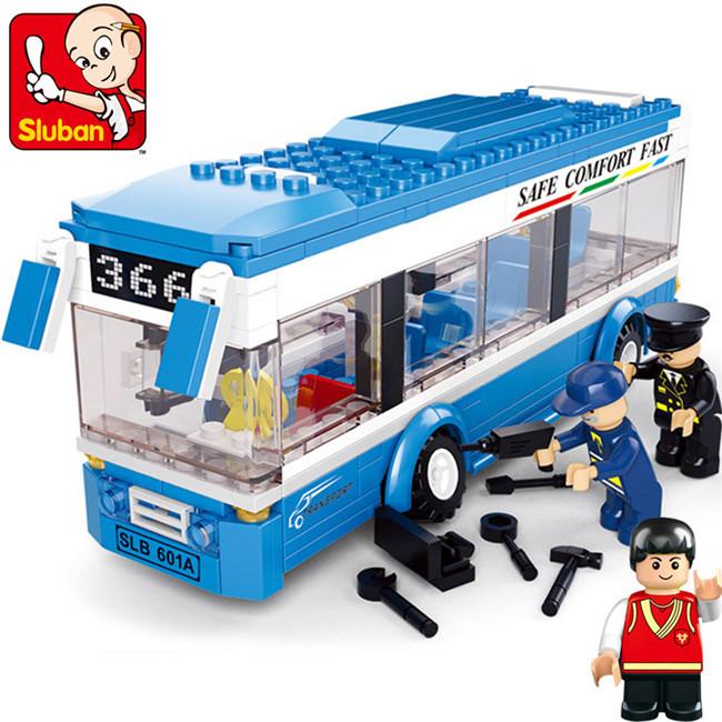 Sluban 235pcs M38-B0330 Bus City Car Building Blocks Educational DIY assemblage bricks toys Compatible with Legominifigures(China (Mainland))