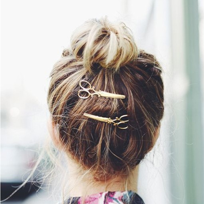 New 2Pcs Retro Scissors Shape Hair Clip Gold/Silver Hair Pin Women Hair Accessory Beauty Hairstyle For Girl Gift NB039