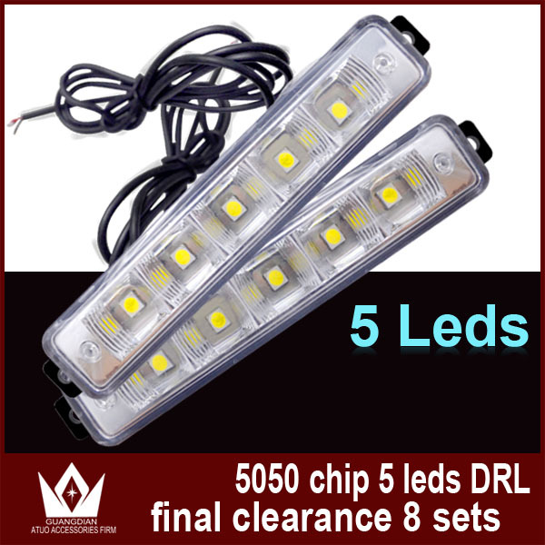 Night Lord Clearance sale!!!!5led Daytime Running Lights 12V 5050 5led DRL for car led drl Free shipment(China (Mainland))