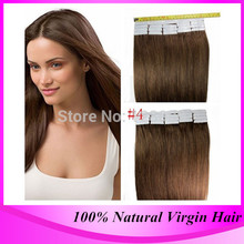 Brazilian Tape In Hair Extensions Remy #4 Medium Brown 40 pieces Sets Suppliers,Free Shipping
