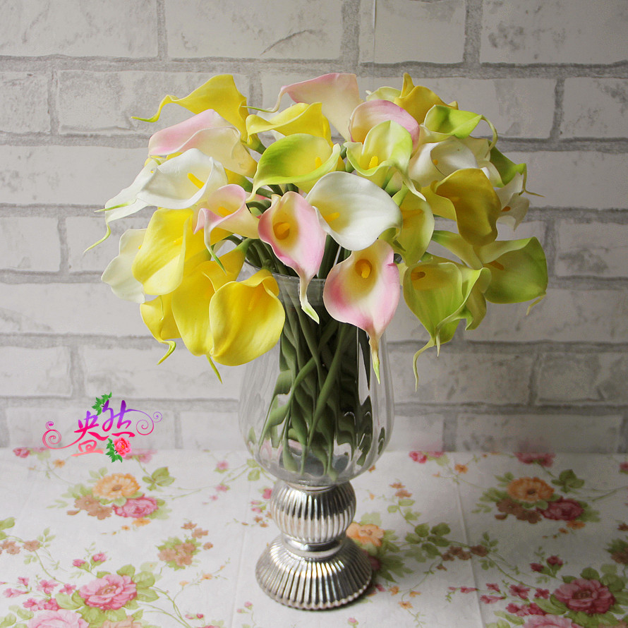 Hot Sale Calla Lily Bridal Wedding Bouquet Head Latex Real Touch Artificial Flowers Decorative