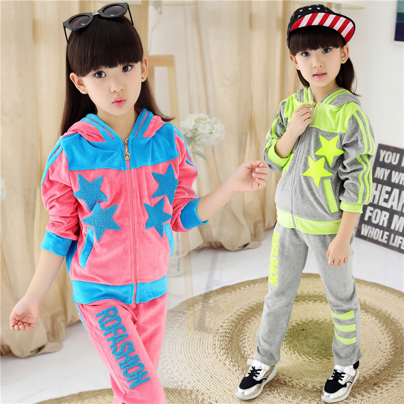 2015 Girls Clothing Set Spring Autumn New Kids Sport Suit Long Sleeve Top Pants Set Five-pointed Star Girls Clothes 2Pcs Sets<br><br>Aliexpress