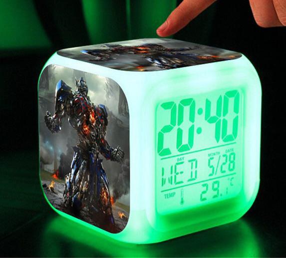 Retail & Wholesale LED watch,7 Colors Change Digital Alarm Clock, kids Bumblebee Optimus Prime Megatron Transformation toys car(China (Mainland))