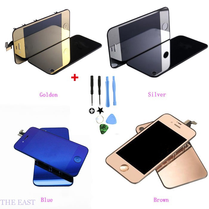 Electroplating Colored LCD Display Touch Screen Digitizer Assembly for iphone4s with tools free shipping