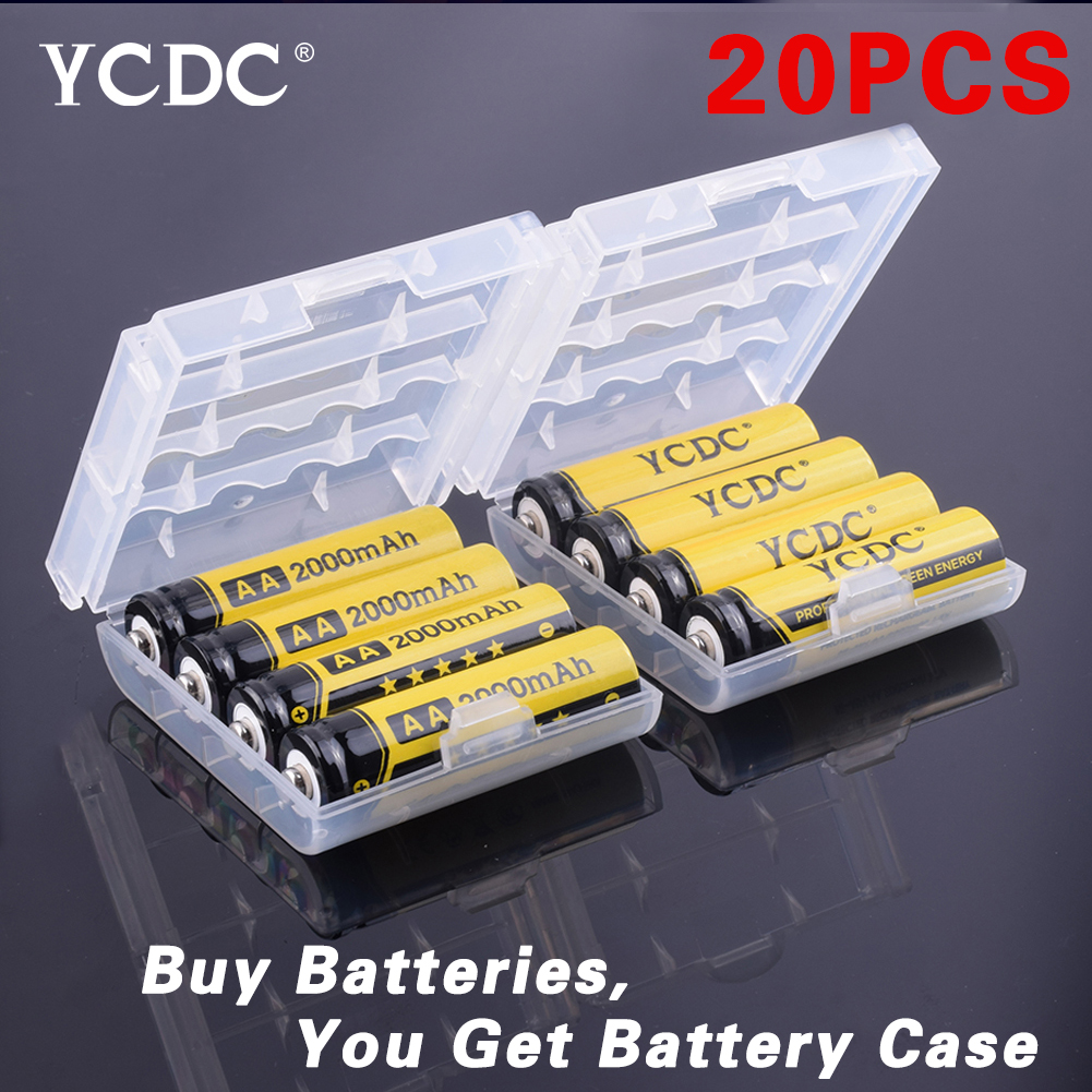YCDC 20pcs Ni-MH 1.2V AA Rechargeable 2000mAh Neutral Battery Rechargeable battery AA batteries With Battery Case(China (Mainland))