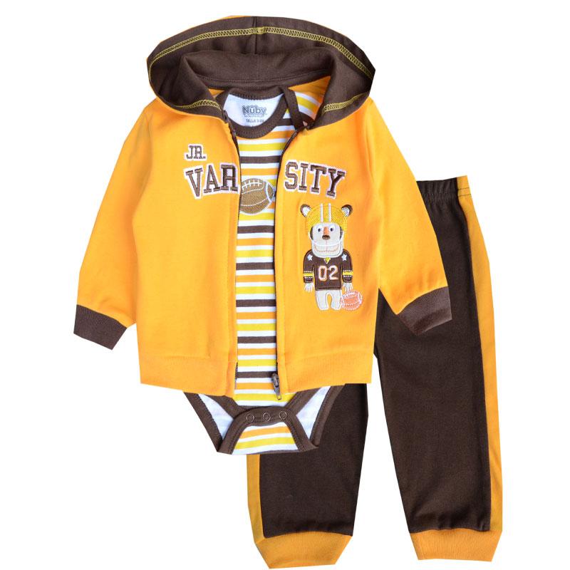 Fashion Style Baby Boy Clothing Set 3pcs Suits Coat Bodysuit Pants Cotton Long Sleeve Winter Newborn Baby Boys Clothes(China (Mainland))