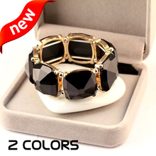 2 Colors New Unique Brand Fashion Vintage Stretch Beaded Stone Mosaic Bracelet joyeria Jewelry Accessories snap jewelry pulseras(China (Mainland))