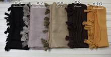 2016 Fringe Plain Hijabs Viscose Women Solid Shawl Wrap Large Head Scarf Islamic Ladie Tassels Design soft scarves Free shipping(China (Mainland))