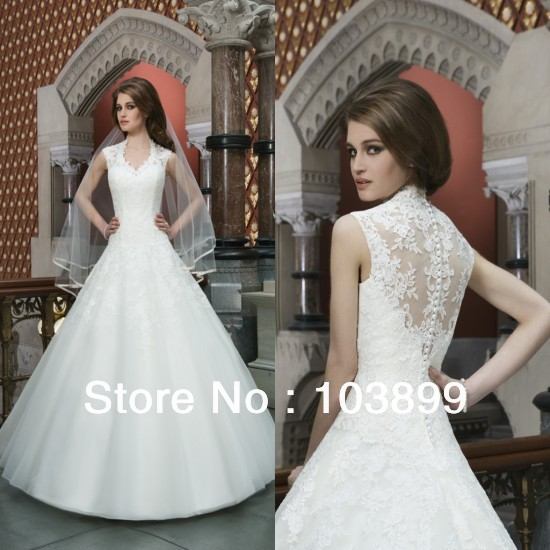 Classic Design Formal Queen Anne Neckline Organza with Appliques Puffy Long Wedding Ball Gowns See Through 2014 Discount(China (Mainland))