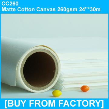 """Matte Cotton Canvas 260gsm 24""""*30M"""