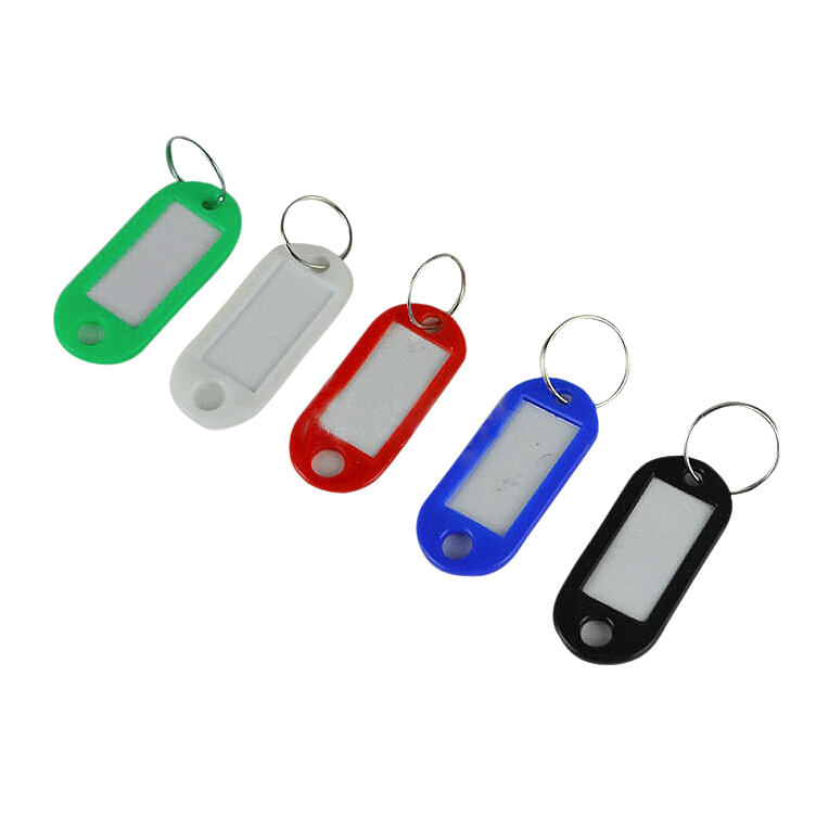 50 in 1 Assorted Color Plastic Key ID Label Name Card Tags Keychains Keyrings(China (Mainland))