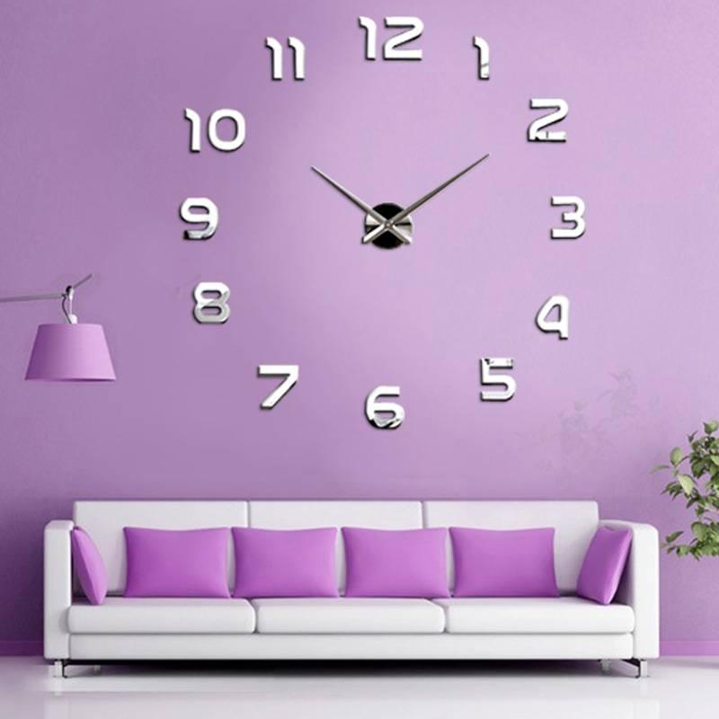 100*100cm New Fashion Large Numbers Wall Clock Acrylic DIY 3D Mirror Sticker Home Decor Art Modern silver 15(China (Mainland))