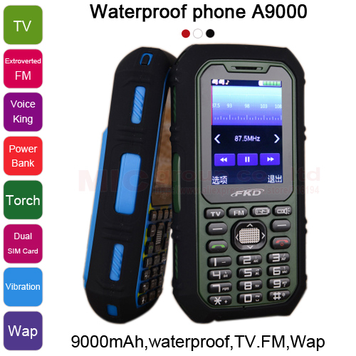 9000mAh long standby power bank torch TV FM voice king Vibration Dual SIM waterproof 5m whatsapp cell mobile phone A9000 P481(China (Mainland))
