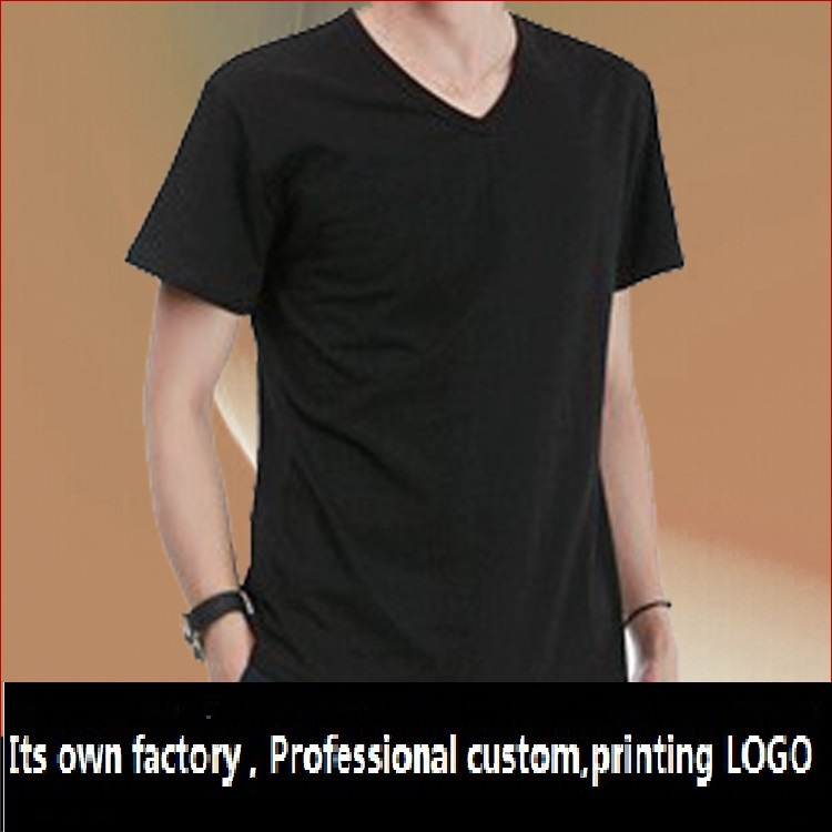 Custom cotton v-neck short-sleeved shirt overalls Can be printed embroidered(China (Mainland))
