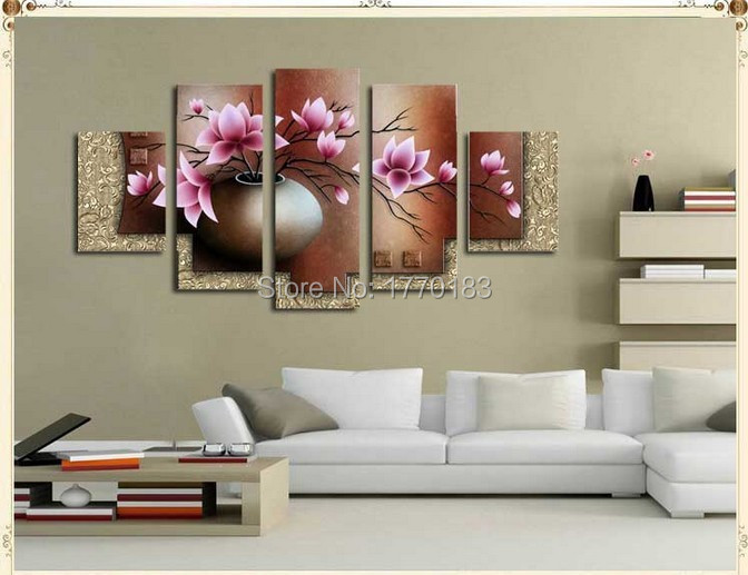Wall Decor Set Of 5 : Piece wall art decor picture set hand painted