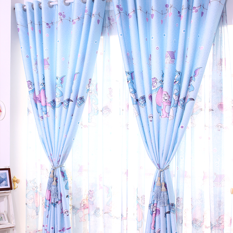 Hot-Sale-Cartoon-Curtains-for-Living-Room-Blue-Pink-Tom-and-Gerry ...