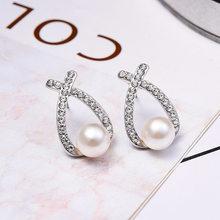 Double Heart Drop Earrings for women Geometric hanging Earrings female 2018 fashion modern jewelry Oorbellen accessories(China)