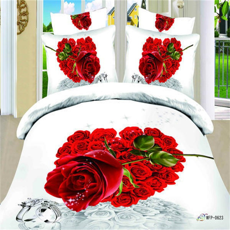heart shaped roses wedding 3d bedding sets 100 cotton parure de lit comforter quilt cover. Black Bedroom Furniture Sets. Home Design Ideas