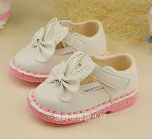 2016 1-3 years spring Baby Girl PU Leather Shoes sweet Princess bowknot soft bottom sandals Children's sneakers kids shoes 21-25(China (Mainland))