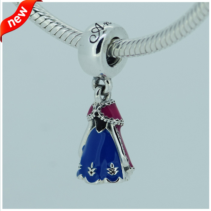 Compatible with Pandora Bracelets Jewelry 925 Sterling Silver Beads  Anna Dress Silver Dangle With Blue,Pink And Black Enamel<br><br>Aliexpress