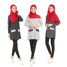2016 fashion high quality Islamism girl's top tartan casual chiffon shirt long sleeve blouses tops plus size for muslim women