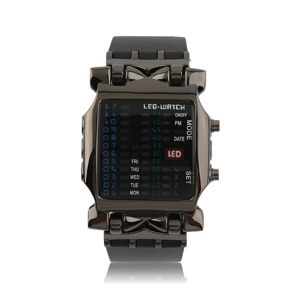 2016 New Arrival Popular Square Dial Uisex Binary LED Digital Watches Rubber Band Casual Sport Wrist Watch(China (Mainland))