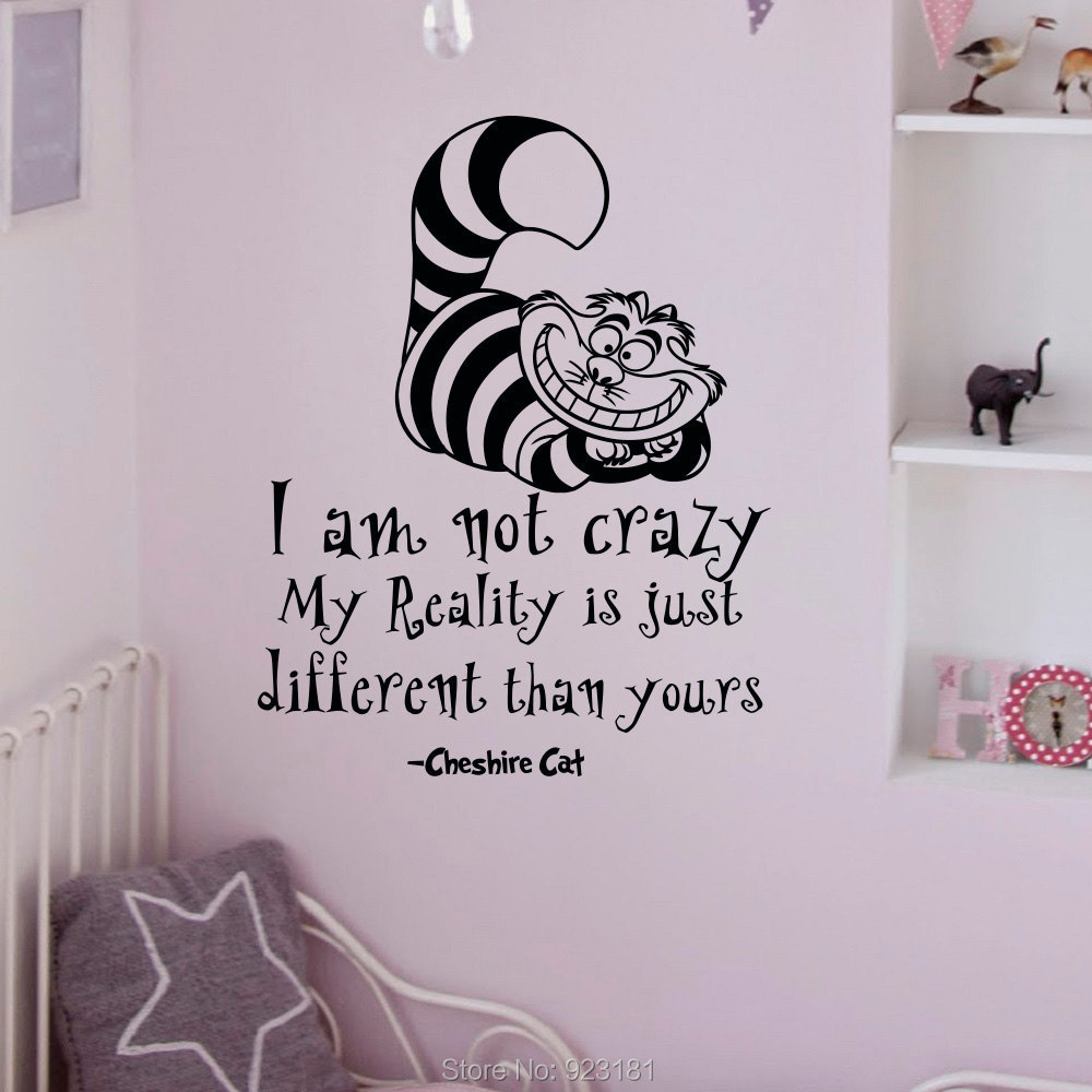 Home Decor Wall Stickers Alice In Wonderland Quotes Cheshire Cat Wall