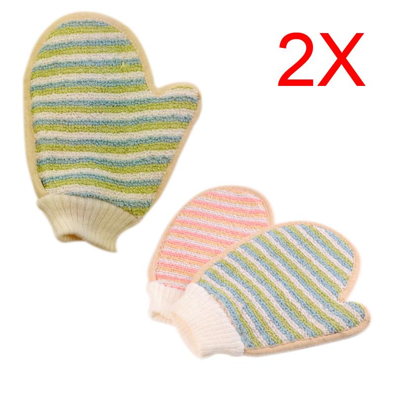 2 pcs Shower Scrubber Back Scrub Exfoliating Body Massage Sponge Bath Stripe Gloves(China (Mainland))