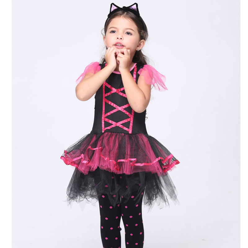 Halloween Costume For Kids Girl Cat Party Clothes Cats Girl Halloween Costumes Dress Anime Cosplay Children Christmas(China (Mainland))