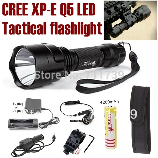 UltraFire C8 NEW CREE Q5 LED 600lm Spotlight Tactical Flashlight light+mounts/Remote switch/battery/charger/Car charger/holster(China (Mainland))