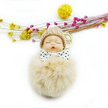Nova Moda Bebê Dormindo Boneca Chaveiro Fluffy Faux Pele De Coelho Pom Pom Chaveiro Pompom Lindo Bowknot Saco Chaveiro Das Mulheres(China)