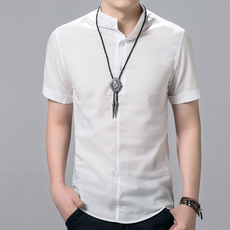 2016 Fashion Summer brand Shirts Men Casual Shirt Mens Pure Color Slim Fit Cotton short Sleeve Stand Collar Size 5XL shirt(China (Mainland))