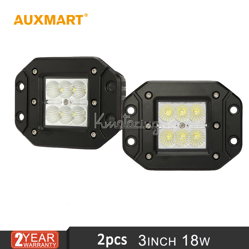 Auxmart Cree chips 3'' 18W Offroad pencil beam LED Flush Mount work Light for Jeep JD for Ford Raptor for Toyota Tundra 12V 24V(China (Mainland))