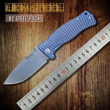 Italia león acero molletta TC4 titanium D2 cuchilla cuchillo plegable táctico de la caza que acampa al aire libre bolsillo de la supervivencia cuchillos herramientas EDC