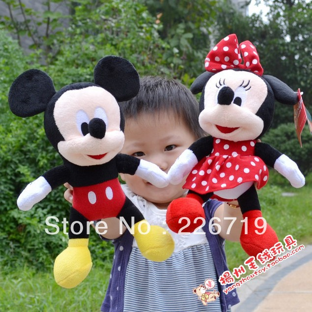 Free Shipping 28cm Lovely Mickey Mouse And Minnie Mouse Plush Animal Toys Mickey And Minnie plush dolls(China (Mainland))